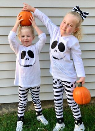 Girls' Halloween Cartoon Daily Long Sleeve Clothing Sets (118208034)