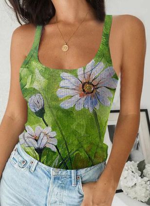 Floral Camisole Neckline Sleeveless Casual T-shirts (147217776)