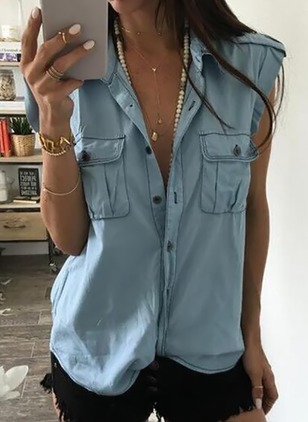 Solid Cotton Collar Sleeveless Blouses