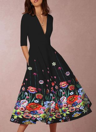 Floral 3/4 Sleeves Midi X-line Dress