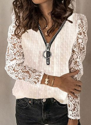 V-Neckline Solid Casual Loose Regular Lace Zipper Sweaters (146846463)