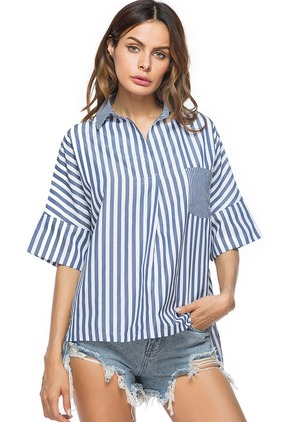 Stripe Cotton Collar Half Sleeve Blouses
