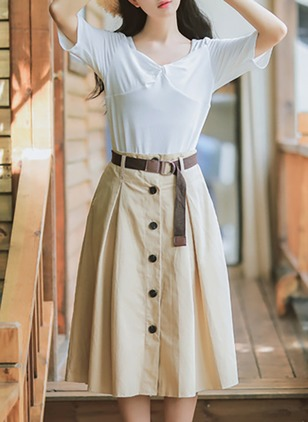 Cotton Solid Mid-Calf Buttons Skirts