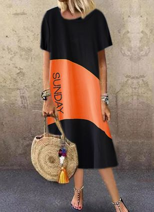 Casual Color Block Tunic Round Neckline Shift Dress (4662506)
