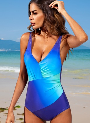 Polyester Color Block Ruffles One-piece Swimwear