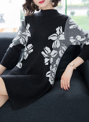 Floral Sweater Long Sleeve Above Knee Shift Dress