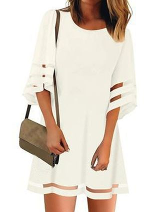 Casual Solid Tunic Round Neckline A-line Dress (146987778)
