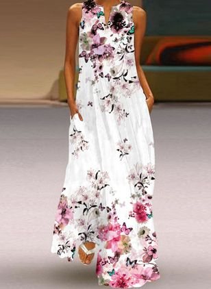 Robes Casual Florale Sans manches Maxi (147019593)