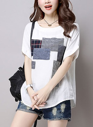 Cotton Geometric Round Neck Half Sleeve Casual T-shirts
