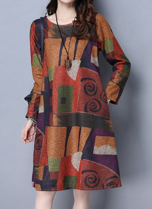 Casual Geometric Tunic Round Neckline A-line Dress (107520112)
