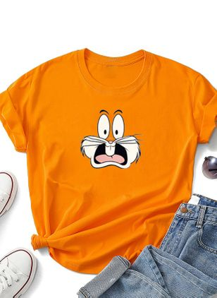 Animal Round Neck Short Sleeve Casual T-shirts (4228815)