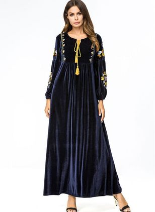 Floral Tassel Long Sleeve Maxi A-line Dress