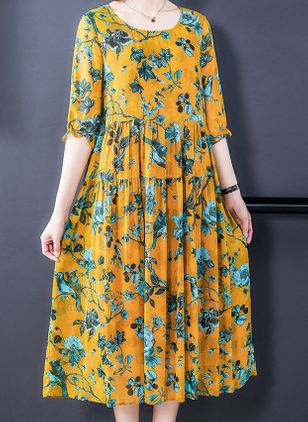 Casual Floral Tunic Round Neckline Shift Dress (100546603)