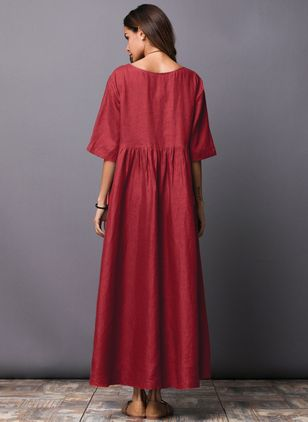 Chinese Casual Solid Round Neckline Maxi A-line Dress (1101059)