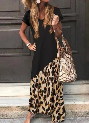 Casual Leopard Tunic Round Neckline Shift Dress
