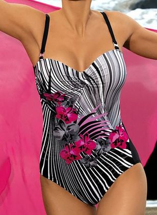 Polyester Floral One-piece Swimwear (147224589)