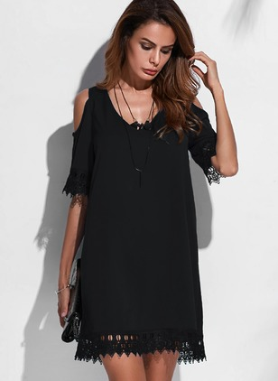 Casual Solid None V-Neckline A-line Dress (1041750)
