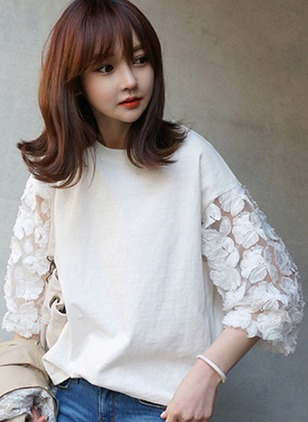 Lace Solid Round Neck 3/4 Sleeves T-shirts