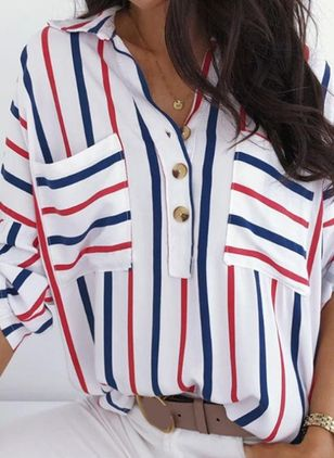 Stripe Casual Collar Long Sleeve Blouses (147192759)