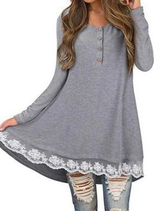 Casual Solid Tunic Round Neckline A-line Dress (108088401)