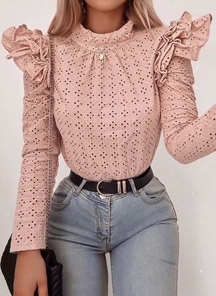 Solid Cute Round Neckline Long Sleeve Blouses