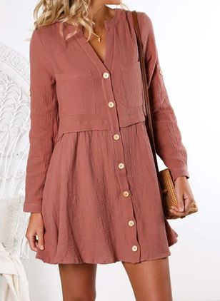 Casual Solid Tunic V-Neckline Shift Dress (4209970)