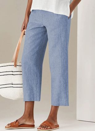 Casual Straight Pockets High Waist Cotton Pants (147091317)