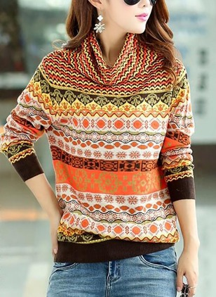 High Neckline Geometric Loose None Sweaters