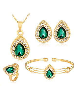 Water Drop Gemstone Necklace Earring Bracelet Ring Jewelry Sets