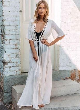 Solid Hollow Out Half Sleeve Maxi A-line Dress