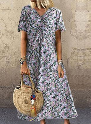 Casual Floral Tunic V-Neckline Shift Dress (4541776)