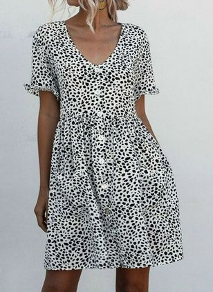 Casual Polka Dot Skater V-Neckline X-line Dress (100002141)