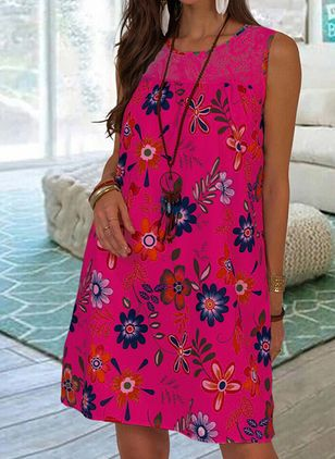 Casual Floral Tunic Round Neckline Shift Dress (100547283)