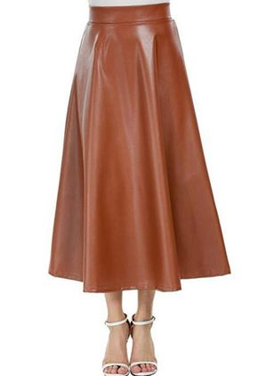 Solid Mid-Calf Elegant Skirts (101985671)