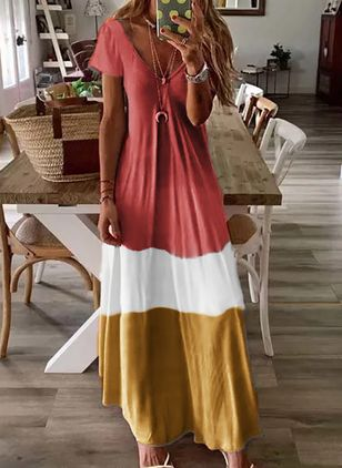 Casual Color Block Tunic V-Neckline Shift Dress (1525488)