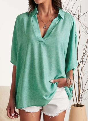 Solid Casual V-Neckline Half Sleeve Blouses (1516246)