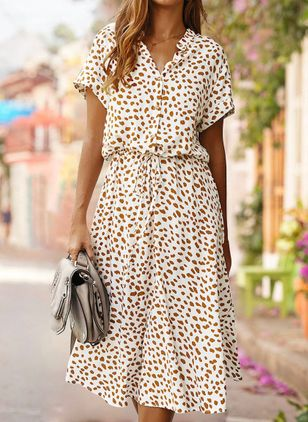 Casual Polka Dot V-Neckline Midi X-line Dress (1537449)