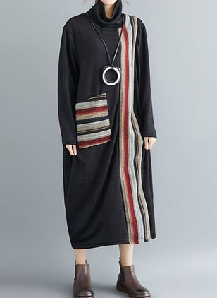 Solid Pockets Long Sleeve Maxi Shift Dress