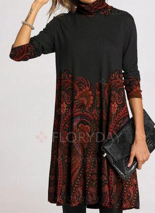 Casual Floral Embroidery Tunic Shift Dress (1402198)