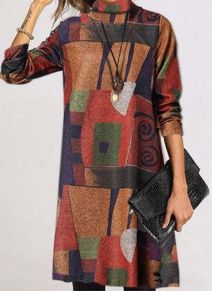 Casual Color Block Round Neckline Long Sleeve Knee-Length Dress (107251407)