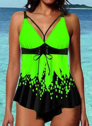 Polyester Color Block Tankinis Swimwear (147471935)