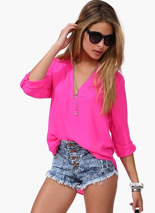 Polyester Solid V-Neckline Long Sleeve T-shirts