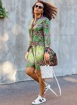 Floral Peasant Long Sleeve Above Knee Sheath Dress