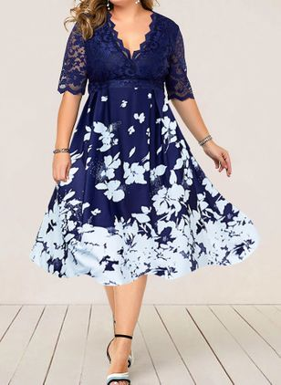 Plus Size Floral V-Neckline Elegant Lace Midi Plus Dress (4040507)
