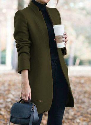 Long Sleeve Collarless Coats (107519908)