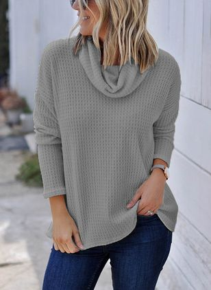 Draped Neckline Solid Loose Regular Shift Sweaters Sweaters