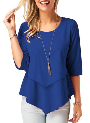 Solid Round Neckline 3/4 Sleeves Blouses