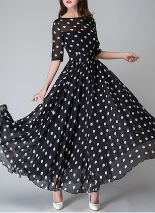 Polka Dot Half Sleeve Maxi A-line Dress