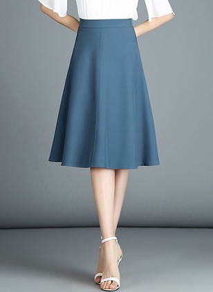 Cotton Solid Knee-Length Skirts