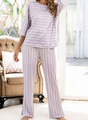 Round Neckline Stripe Pockets Pajamas (107563157)